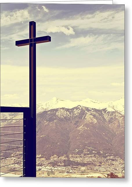 Cross In The Sky Greeting Card by Joana Kruse