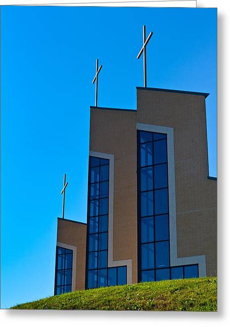 Greeting Card featuring the photograph Crosses Of Livingway Church by Ed Gleichman