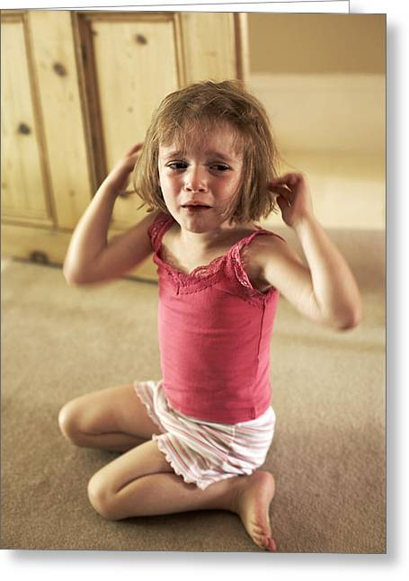 Crying Girl Greeting Card by Ian Boddy