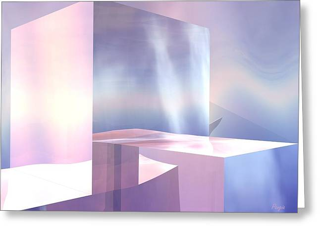 Greeting Card featuring the digital art Cubes by John Pangia