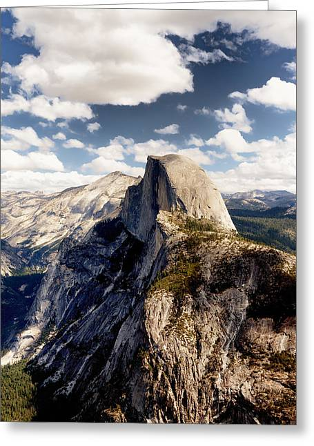 Cumulus Clouds And Half Dome Yosemite National Park Greeting Card by Troy Montemayor