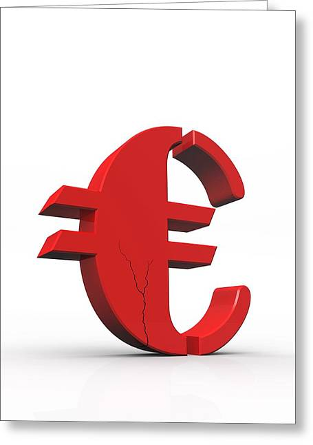Currency Crash, Conceptual Image Greeting Card
