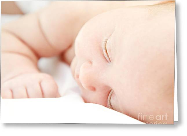 Cute Little Baby Sleeping Greeting Card by Anna Om