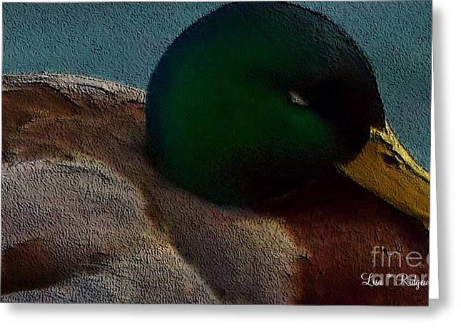 Dad's Mallard Duck Greeting Card by Lisa  Ridgeway