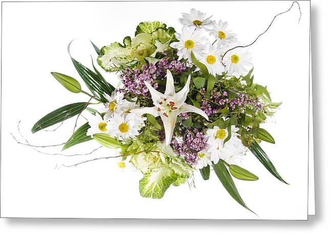 Daisy And Lily Bouquet Greeting Card by James Forte
