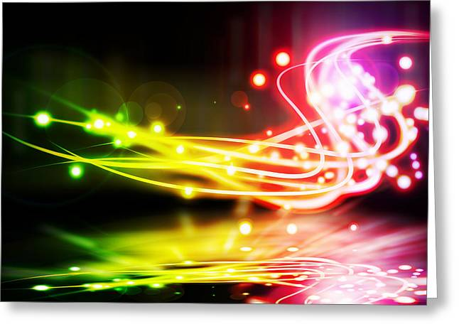 Dancing Lights Greeting Card by Setsiri Silapasuwanchai