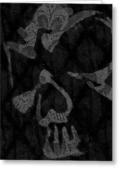 Dark Skull Greeting Card by Roseanne Jones