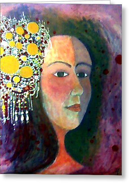 Greeting Card featuring the painting Debutante by Monica Furlow