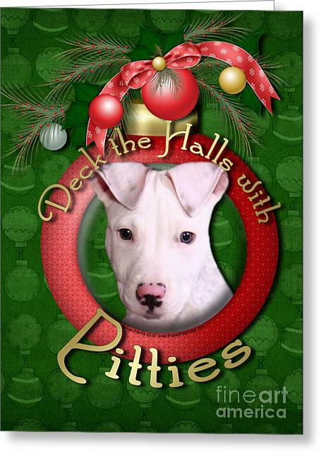 Deck The Halls With Pitbulls Greeting Card by Renae Laughner