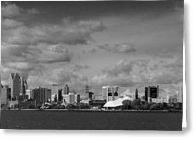 Detroit Skyline In Black And White Greeting Card