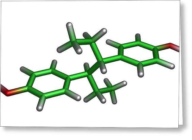 Diethylstilbestrol Drug Molecule Greeting Card by Dr Tim Evans