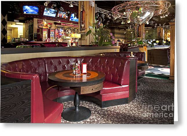 Dining Booth In An American Style Diner Greeting Card by Jaak Nilson