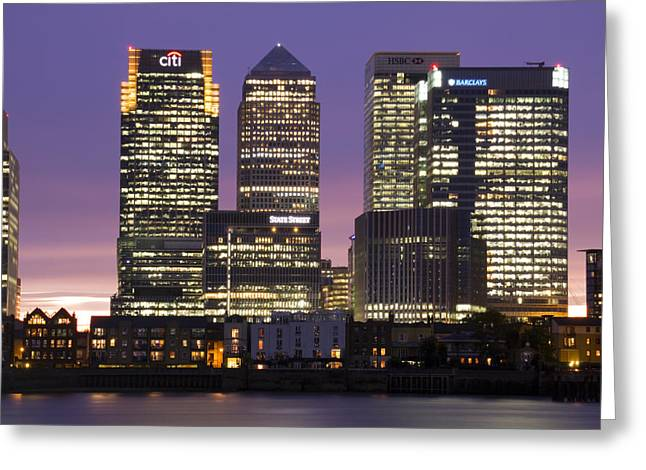 Docklands Canary Wharf Sunset Greeting Card by David French