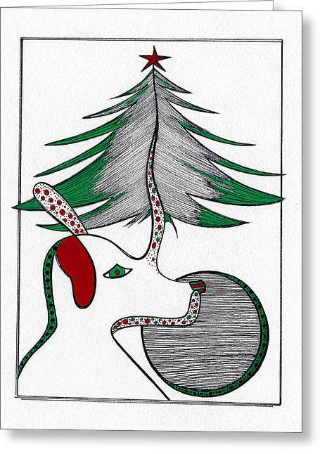 Dog Tree Greeting Card