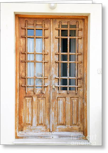 Doors In Greece Greeting Card by Maria Varnalis