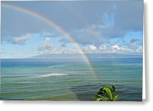 Greeting Card featuring the photograph Double Rainbow In Maui by Kirsten Giving