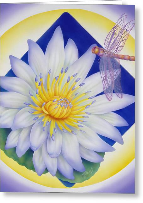 Dragonfly And Waterlily Greeting Card by Marcia  Perry