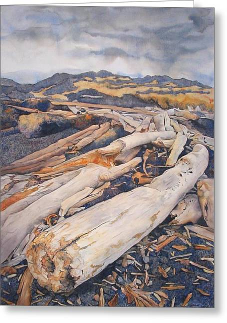Driftwood Gathering Greeting Card by Leslie Redhead