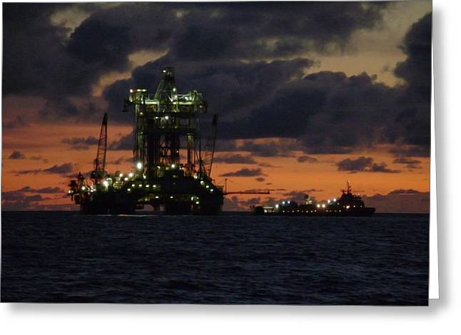 Sea Platform Greeting Cards - Drill Rig at Dusk Greeting Card by Charles and Melisa Morrison