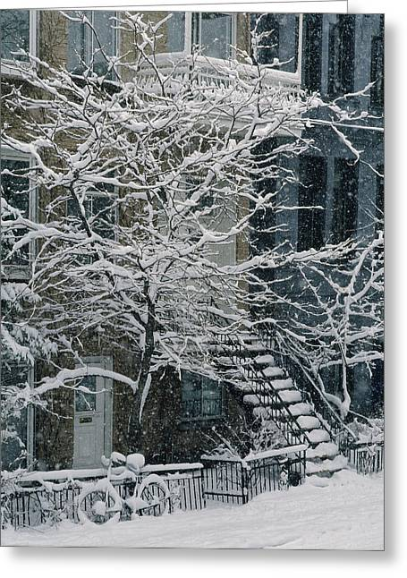 Drolet Street In Winter, Montreal Greeting Card by Yves Marcoux
