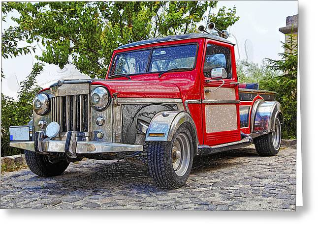 Dusty Pick-up Hot Rod Greeting Card by Kantilal Patel