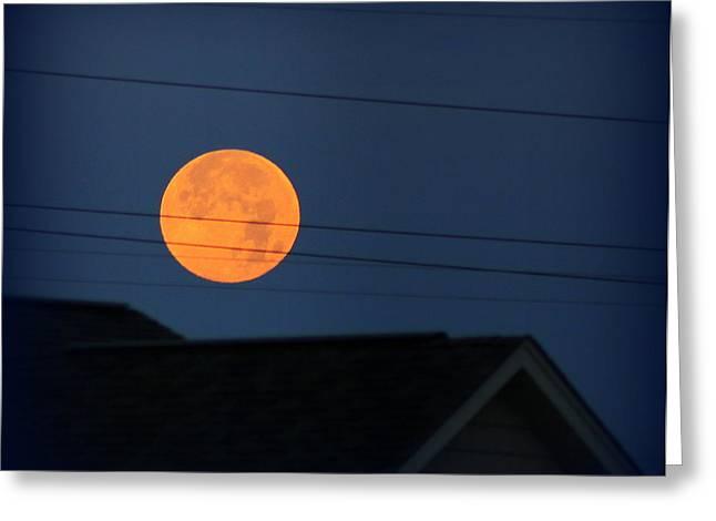 Early Morning Full Moon Over Walton Kentucky Greeting Card by Maureen  McDonald