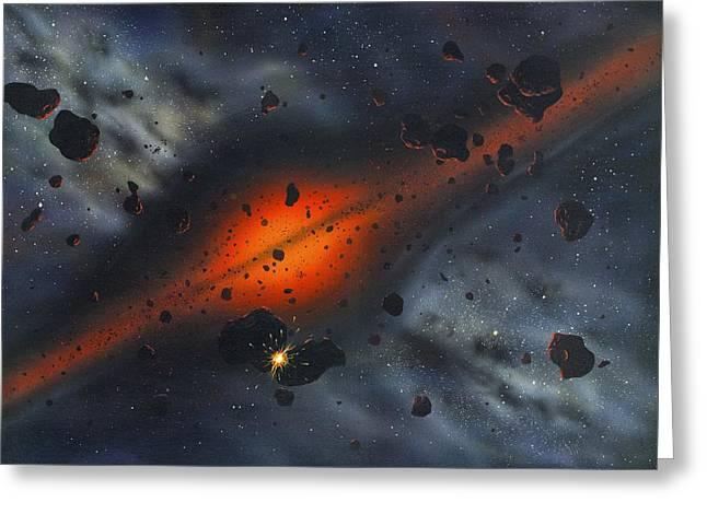 Early Solar System, Artwork Greeting Card by Richard Bizley