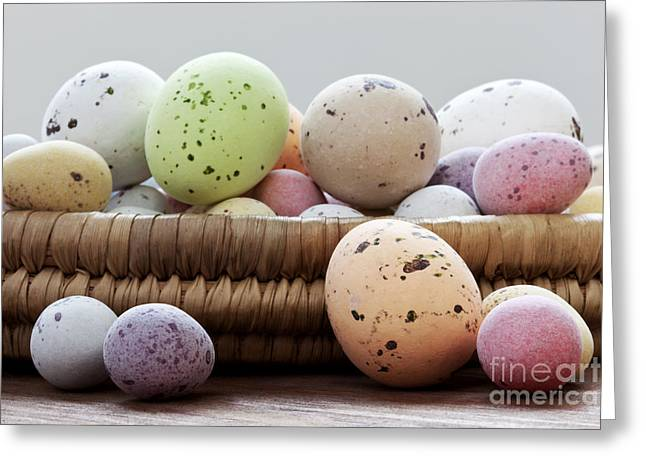 Easter Eggs In A Wicker Basket Greeting Card by Richard Thomas