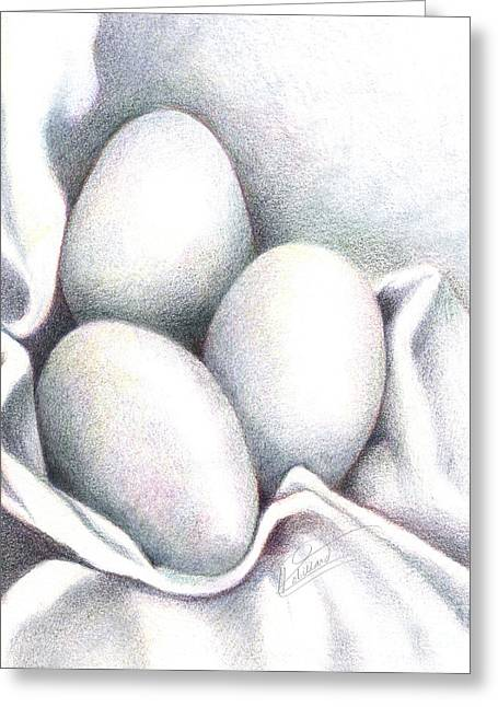 Eggs In Folds Greeting Card by Lissa Rachelle