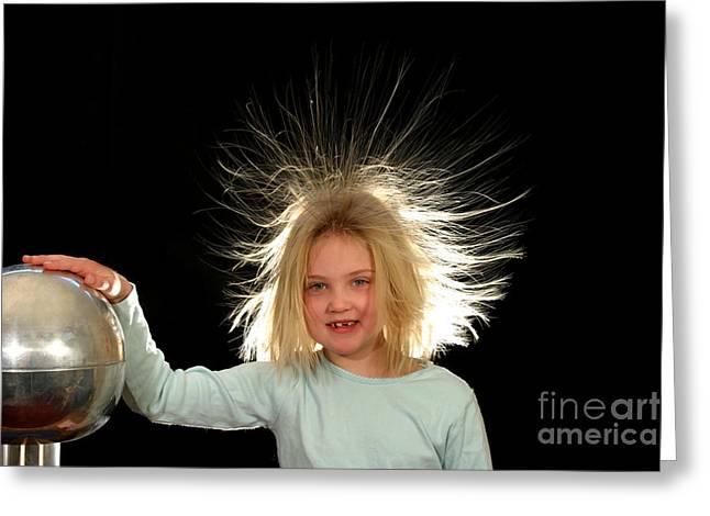 Electrostatic Generator Greeting Card by Ted Kinsman