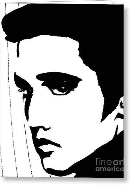 Elvis In Black And White Greeting Card