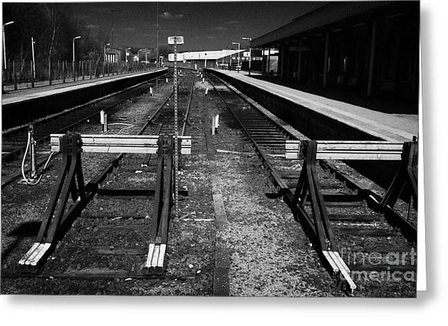 end of the line at buxton railway station Buxton Derbyshire England UK Greeting Card
