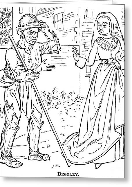 English Beggar, 1330 Greeting Card