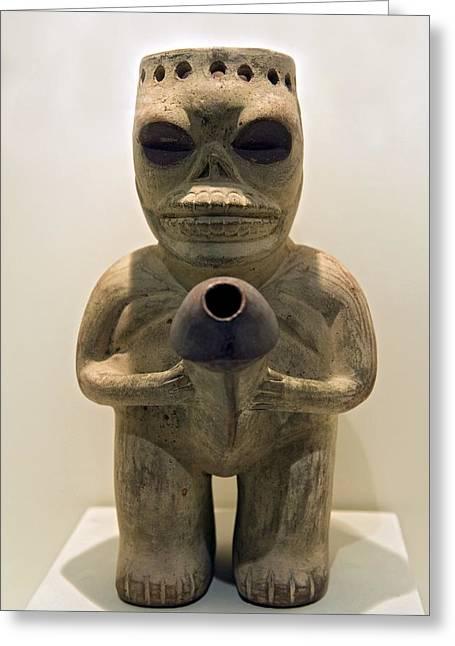Erotic Sculpture, Moche Epoch Greeting Card by Tony Camacho