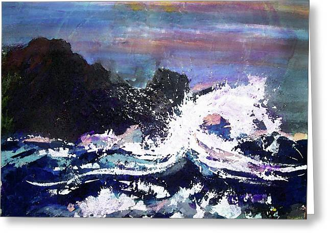 Evening Wave Greeting Card by Valerie Wolf