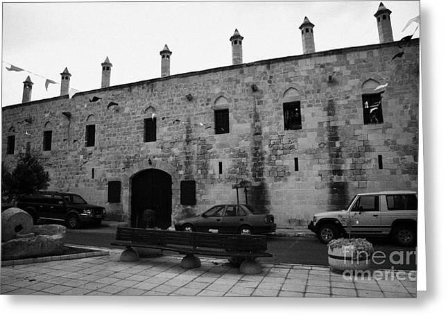 exterior of buyuk han the great inn in nicosia TRNC turkish republic of northern cyprus Greeting Card by Joe Fox