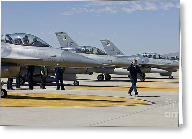 F-16 Pilots Work With Crew Chiefs Greeting Card by HIGH-G Productions
