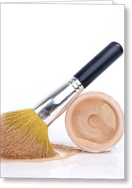 Face Powder And Make-up Brush Greeting Card by Bernard Jaubert