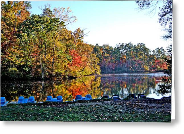 Fall At The Lake Greeting Card by Larry Bishop