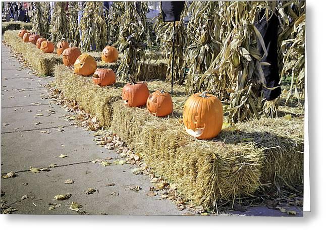 Fall  Halloween On Tillson Street Greeting Card by LeeAnn McLaneGoetz McLaneGoetzStudioLLCcom