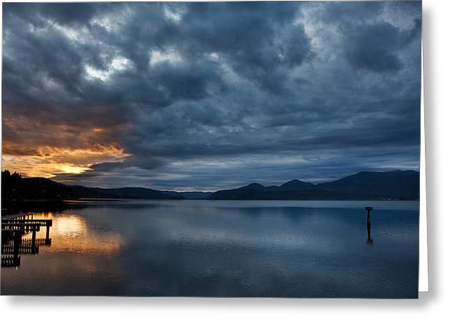 Fall Sunset Over Lake Pend Oreille Greeting Card by Marie-Dominique Verdier