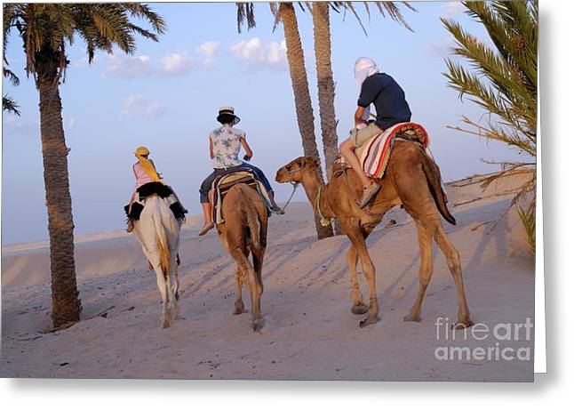 Family Riding Three Camels In Desert Greeting Card