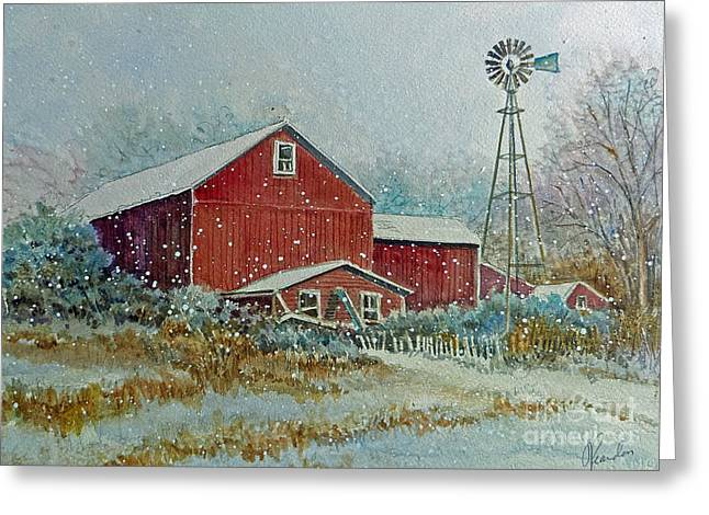 Farm In Winter Greeting Card by Louise Peardon