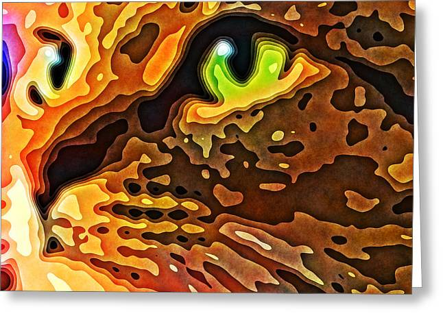 Feline Face Abstract Greeting Card by David G Paul