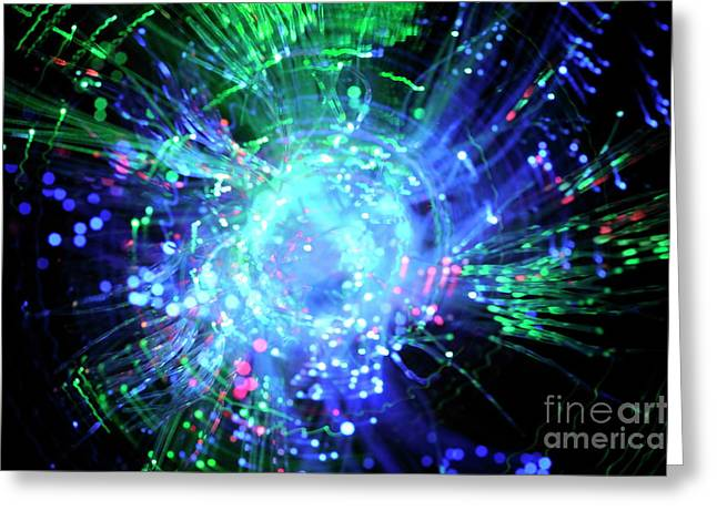 Fiber Optic Swirl Greeting Card by Sami Sarkis