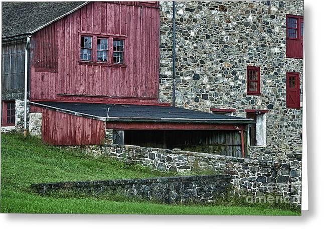 Field Stone Barn Greeting Card by John Greim
