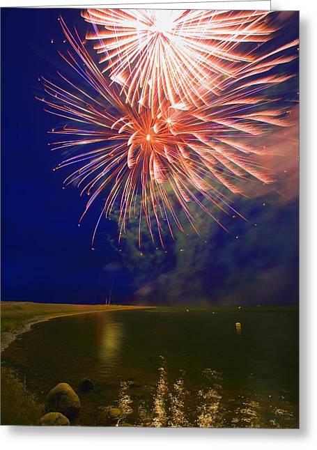 Fireworks In The Night Sky Greeting Card