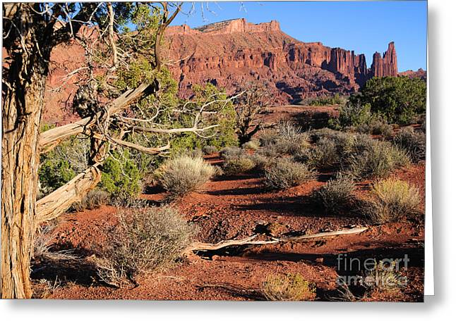 Fisher Towers At Sunset Greeting Card by Gary Whitton