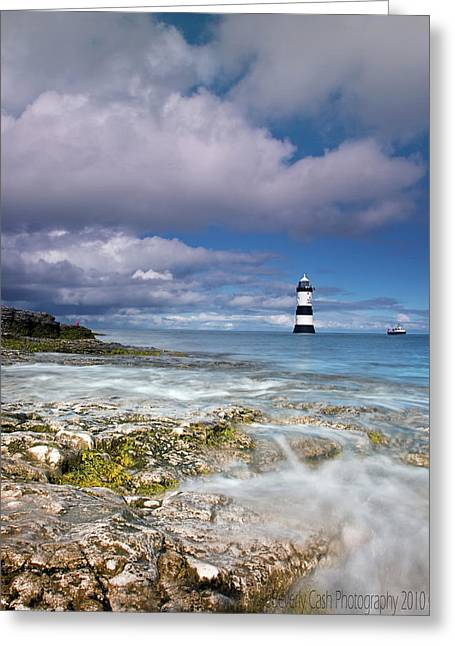 Fishing By The Lighthouse Greeting Card