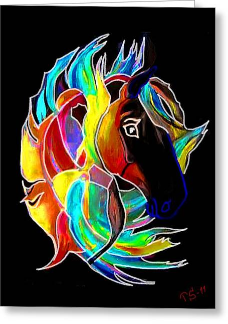 Flames I Greeting Card by Tarja Stegars